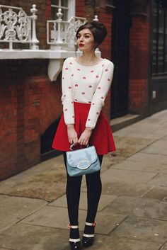 Lips Jumper Red Skirt Sixties Outfit by What Olivia Did, via Flickr
