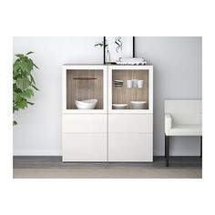 BESTÅ Storage combination w/glass doors - white/Selsviken high gloss/white clear glass, drawer runner, soft-closing - IKEA At Home Furniture Store, Modern Home Furniture, Affordable Furniture, Tempered Glass Shelves, Ikea Family, Adjustable Shelving, Home And Living, Home Furnishings, Homes