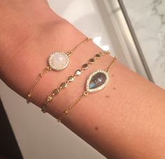 Melanie Auld Labradorite, Moonstone and Disc Bracelets