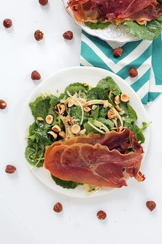 #paleo Apple Noodle & Prosciutto Baby Kale Salad with Roasted Hazelnuts - Guest Post by inspiralized.com