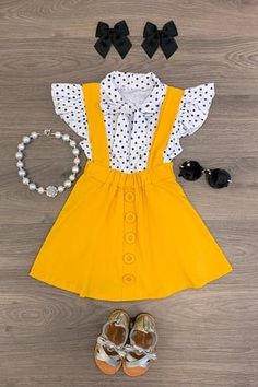 Polka Dot Mustard Suspender Skirt Set – Sparkle In Pink Little Girl Outfits, Cute Outfits For Kids, Little Girl Fashion, Toddler Girl Outfits, Baby Girl Dresses, Baby Dress, Kids Fashion, Toddler Fashion, Toddler Girls