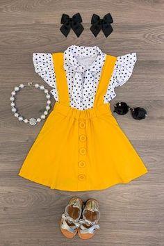 Polka Dot Mustard Suspender Skirt Set – Sparkle In Pink Little Girl Outfits, Toddler Girl Outfits, Little Girl Fashion, Baby Girl Dresses, Baby Dress, Kids Outfits, Kids Fashion, Cute Outfits, Toddler Fashion