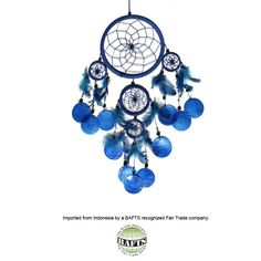 Fair Trade Dreamcatcher -Blue: FEATHERS & SHELLS | RelaxTribe™