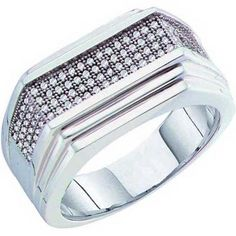 Share and get $20 off your order of $100 or more. 0.33 Carat (ctw) 10k White Gold Round White Diamond Men's Hip Hop Micro Pave Wedding Anniversary Band - Dazzling Rock #https://www.pinterest.com/dazzlingrock/