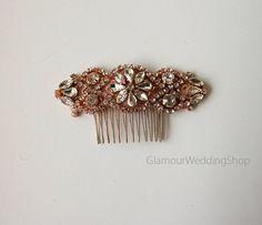 Wedding Hair Comb Rhinestone with Rose Gold Wedding Hair Comb Hair Comb Bridesmaid's Hair Comb Flower Girl Hair Headband Comb by GlamourWeddingShop on Etsy