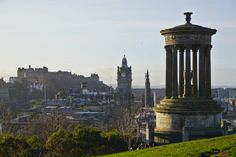 The city seen from Calton Hill, with Dugald Stewart Monument in front - Edinburgh Glasgow, Edinburgh, Scottish New Year, Greyfriars Bobby, Busy Street, Modern Buildings, Heritage Site, Old Town, Cemetery