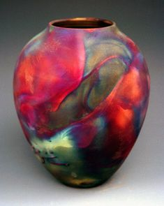copper raku gallery | Raku Vase