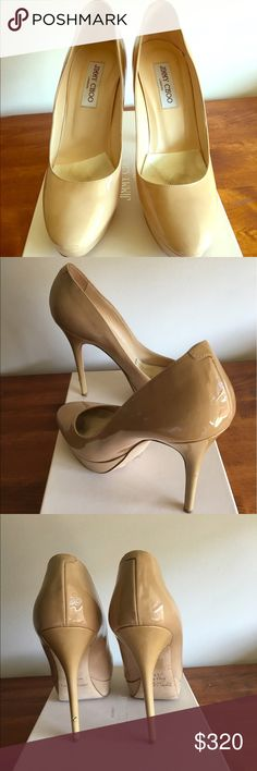 Jimmy Choo cosmic nude pumps size 10 rarely worn Jimmy Choo cosmic nude patent leather pumps size 10/40 comes with box, dust cover and card. Jimmy Choo Shoes Heels