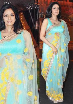 Bollywood Actress Sridevi Net Saree in Skyblue color