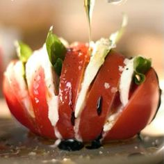 I love this presentation of a caprese salad.