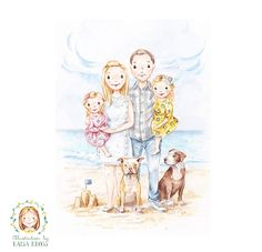 Family Portrait of Four - Custom Family Portrait - Handmade Personalised Watercolour Illustration by RaisaKrossPictures on Etsy