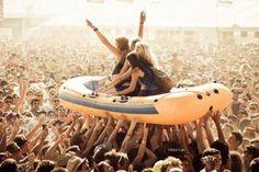 Festival crowd boating