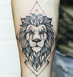 unique Geometric Tattoo - Tattoo leão simétrica...
