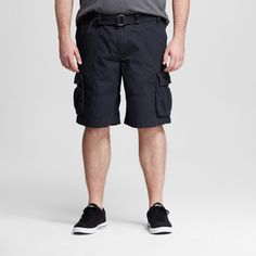Men's Big & Tall Belted Cargo Shorts Dark Gray 50 - Mossimo Supply Co.