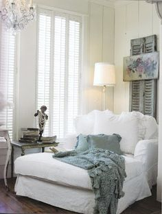 cozy reading corner...this looks so soft and inviting, and the color palette is so me!