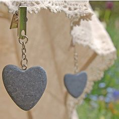 Heart shaped tablecloth weights... essential for outdoors! :)