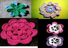 Colección de flores en tejido a crochet.