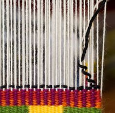 For this post I tackle two techniques in the CraftArtEdu Introduction to Tapestry Class: pick and pick and soumak knots. Pick and Pick Pick and pick is a method you'll hear about a lot. It cr… Weaving Loom Diy, Weaving Art, Weaving Patterns, Tapestry Weaving, Hand Weaving, Knitting Patterns, Knitting Tutorials, Stitch Patterns, Nativity Crafts