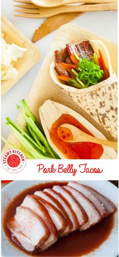 Pork Belly Tacos Recipe - using the sous vide method creates perfectly tender pork belly, perfect to enjoy with Asian carrot and cucumber pickle, sweet chile sauce. ~ http://steamykitchen.com