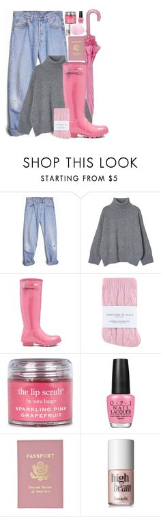 """Want more, need less"" by hatcherfogarty ❤ liked on Polyvore featuring Levi's, Hunter, Johnstons, Sara Happ, OPI and Eos"