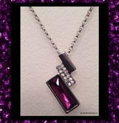 NEW - PURPLE CRYSTAL RHINESTONE RECTANGLE SHAPED SILVER PENDANT NECKLACE #Pendant