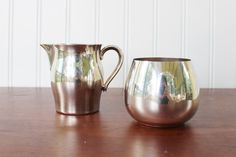Vintage silver sugar blow and creamer set, Paul Revere style, vintage modern classic