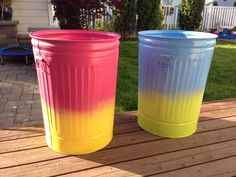 laundry bins a couple of rattle cans if paint and two aluminum garbage cans