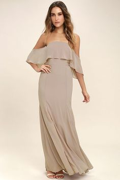 The All My Heart Taupe Off-the-Shoulder Maxi Dress steals hearts with every appearance it makes! Woven poly forms a strapless bodice with hidden no-slip strips, princess seams, and a fluttering flounce, framed by sheer, off-the-shoulder sleeves. Maxi skirt falls from a fitted waist into flaring godets. Hidden back zipper with clasp.