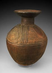 Africa | Water or Palm Wine Container.  Nupe or related culture ~ Nigeria | Early/mid-20th century |   Terracotta