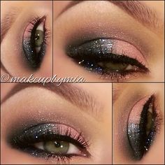 sparkling black and pink eye look