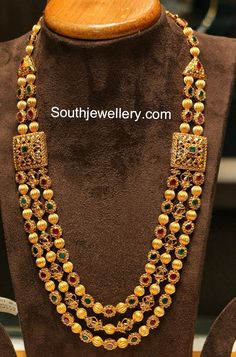 Gold beads and stone long necklace -South Indian jewelry
