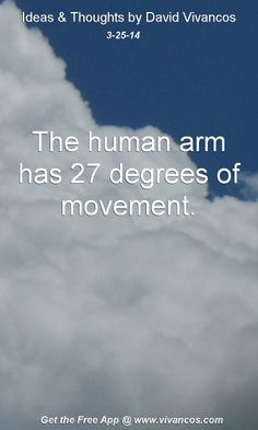 "March 25th 2014 Idea, ""The human arm has 27 degrees of movement.""  https://www.youtube.com/watch?v=q9RH4Qp3il0"