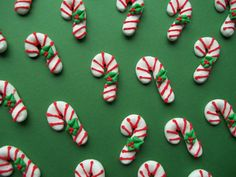 Edible royal icing candy canes cupcake toppers  -- Handmade Christmas x-mas cake decorations (30 pieces) on Etsy, $14.00