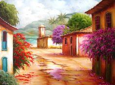 Pintura a Óleo Sobre Tela - Eduardo Mecenero: Casario com Primaveras