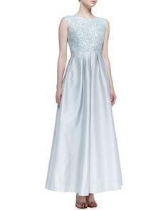 d44c8be4bf Aidan Mattox Cap-Sleeve Sequin-Bodice Ball Gown
