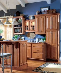 example of recessed cabinet and deeper counter