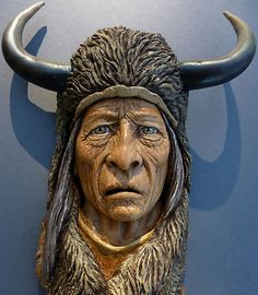 ORIGINAL WOOD SPIRIT CARVING NATIVE AMERICAN INDIAN RUSTIC CABIN DECOR by SUZY