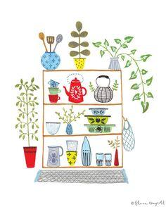 Cuisine Shelves1 8 x 10 giclée par florawaycott sur Etsy