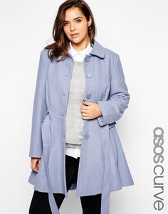 Image 1 of ASOS CURVE Exclusive Fit & Flare Coat With Belted Waist