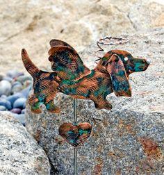 Basset Hound Decor / Metal Garden Stake / Copper / Angel Dog / Basset Hound Art / Pet Memorial /  Outdoor Decor /  Dog Sculpture / Handmade by GardenCopperArt on Etsy