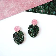 Monstera Earrings  Tropical Earrings  Botanical Earrings