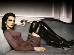 Rachel Weiss in thigh high stiletto boots