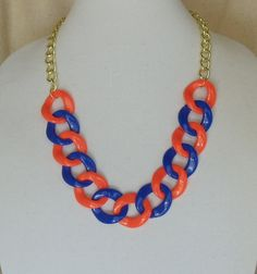 """Chunky Royal  Blue and Orange, Light Weight Acrylic, 30x32mm Link, Adjustable 22"""" Long Statement Necklace, #SN1006,FREE"""