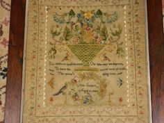 A 19th Century AMERICAN Sampler Stitched By Ann Cutler Aged 13 & Dated 1844 ~ eBay.com