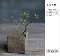 素影 创意粗陶方块花器陶瓷迷你小花插窑变正方形家居简约摆件-tmall.com天猫