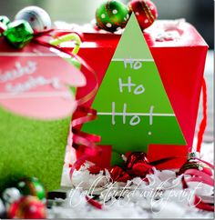Christmas Gift Wrapping Ideas use paint chips for name tags