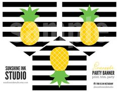 Printable Pineapple Luau Party Banner by SunshineInkStudio on Etsy