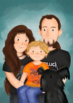 Custom family portrait illustration - Unique gift idea for parents and family Dog Lover Gifts, Dog Lovers, Family Portrait Drawing, Valentine Day Gifts, Valentines, Unique Animals, Digital Portrait, Portrait Illustration, Parent Gifts