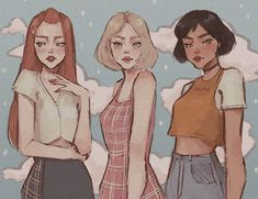 The Powerpuff girls I think? Cartoon Kunst, Cartoon Art, Food Cartoon, Cartoon Characters, Powerpuff Girls, Aesthetic Anime, Aesthetic Art, Pretty Art, Cute Art
