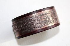 Bracelets For Ladies: Kabbalah prayer, Ana Bekoach, hebrew, mens leather bracelet - TalkFashion Cowhide Leather, Cow Leather, Copper Bracelet, Cuff Bracelets, Antique Copper, Daily Fashion, Prayers, Lady, Jewelry